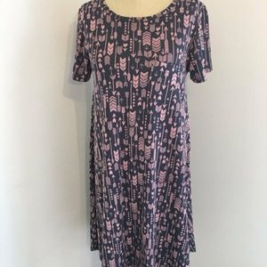 Lularoe Pink Gray Arrow Jacquard Look Carly Dress